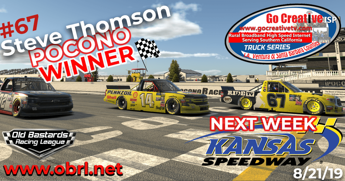 Steve Thomson #67 Ride TV Tundra Wins Nascar Go Creative ISP Truck Race at Pocono Raceway