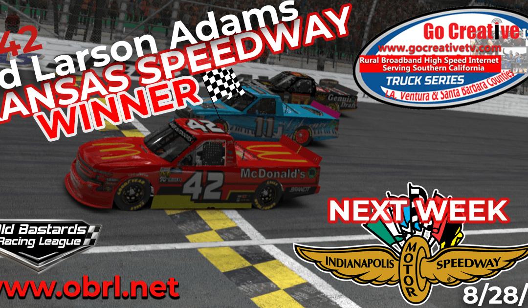 🏁Ed Larson Adams #42 McDonalds Silverado Wins Nascar Go Creative ISP Truck Race at Kansas!