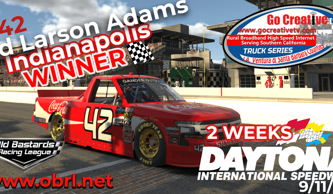 🏁Ed Larson Adams #42 Wins Nascar Go Creative ISP Truck Race at INDY and CHAMPIONSHIP!