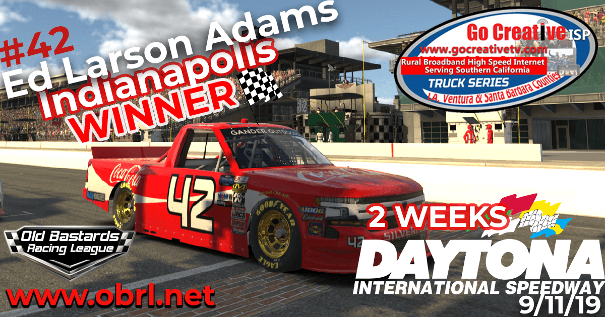 Ed Larson Adams #42 Wins Nascar Go Creative ISP Truck Race at INDY and CHAMPIONSHIP!