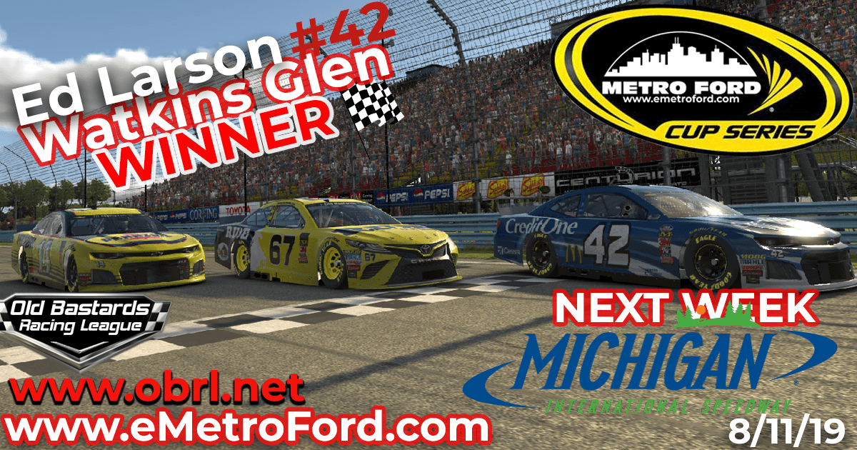 Ed Larson Adams #42 Wins Nascar Metro Ford Cup Road Race at Watkins Glen!