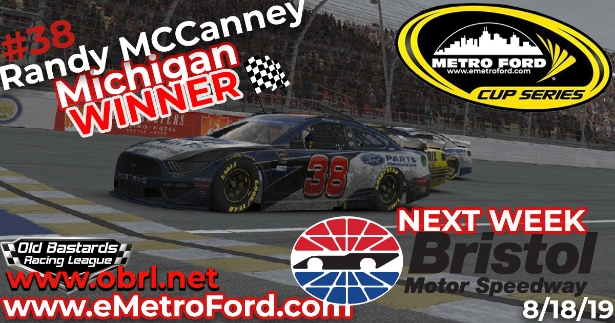 Randy McCanney #38 Wins Nascar Metro Ford Cup Road Race at Michigan Int'l Speedway