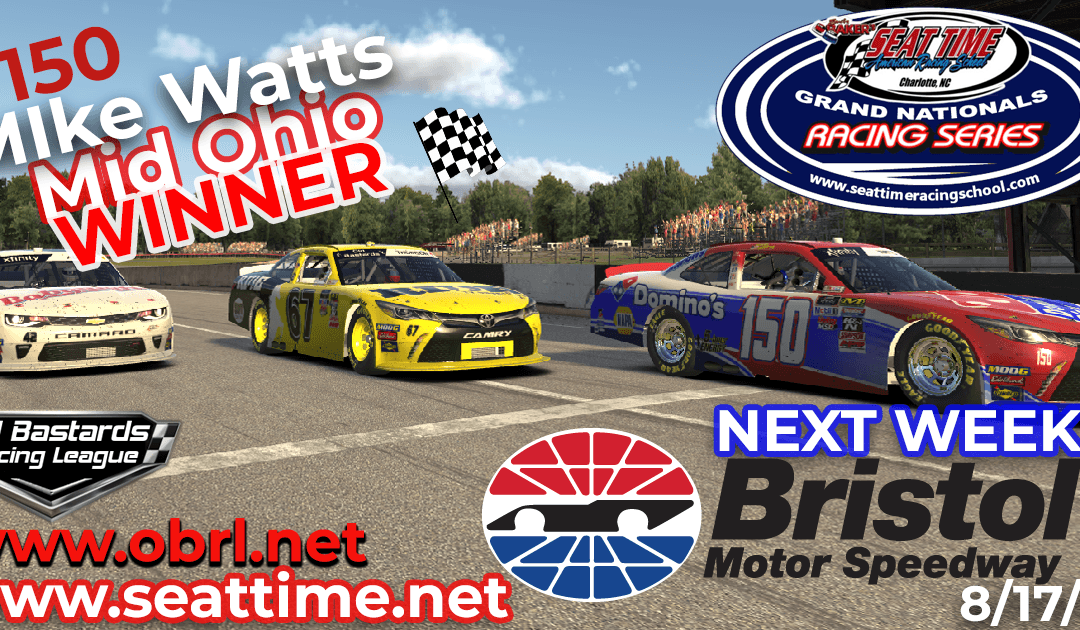 🏁Mike Watts Wins Nascar Seat Time Racing School Grand National Xfinity Race at Mid Ohio!