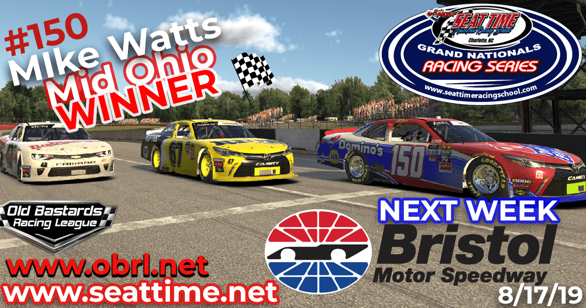 Mike Watts Wins Nascar Seat Time Racing School Grand National Xfinity Race at Mid Ohio