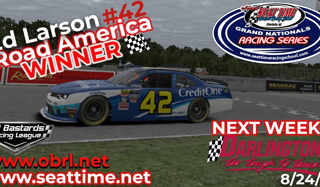 🏁Ed Adams #42 Wins Nascar Seat Time Racing School Grand National Xfinity Race at Road America!