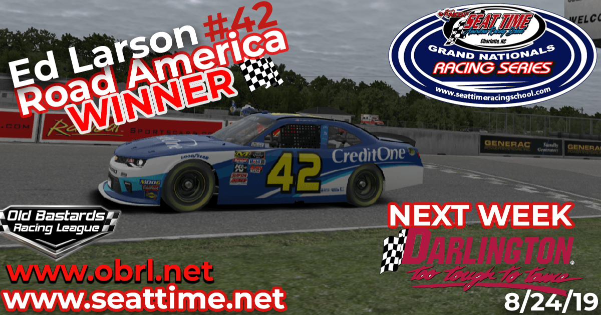 Ed Larson Adams #42 Wins Nascar Seat Time Racing School Grand National Xfinity Race at Road America!