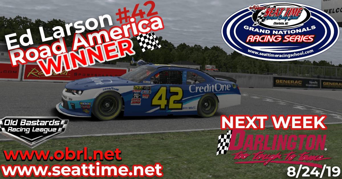 Ed Larson Adams #42 Wins Nascar Seat Time Racing School Grand National Xfinity Race at Road America!