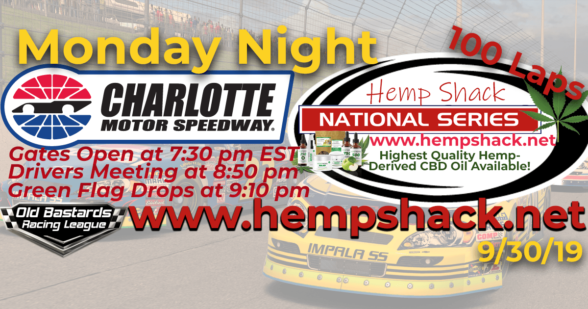 Nascar West Hemp Shack CBD Oil National Series Race at Charlotte Motor Speedway - 9/30/19 Monday Nights iRacing K&N Pro League