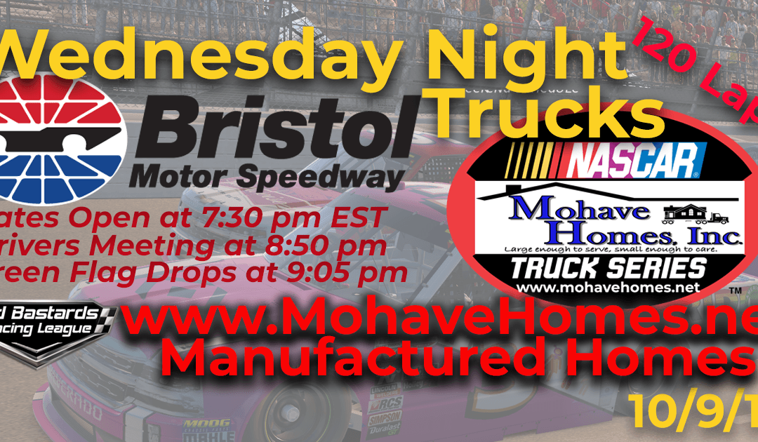 🏁WINNER: Ed Adams #42! Week #5 Cavco Mobile Homes Mohave Homes Truck Series Race at Bristol Motor Speedway – 10/9/19 Wednesday Nights