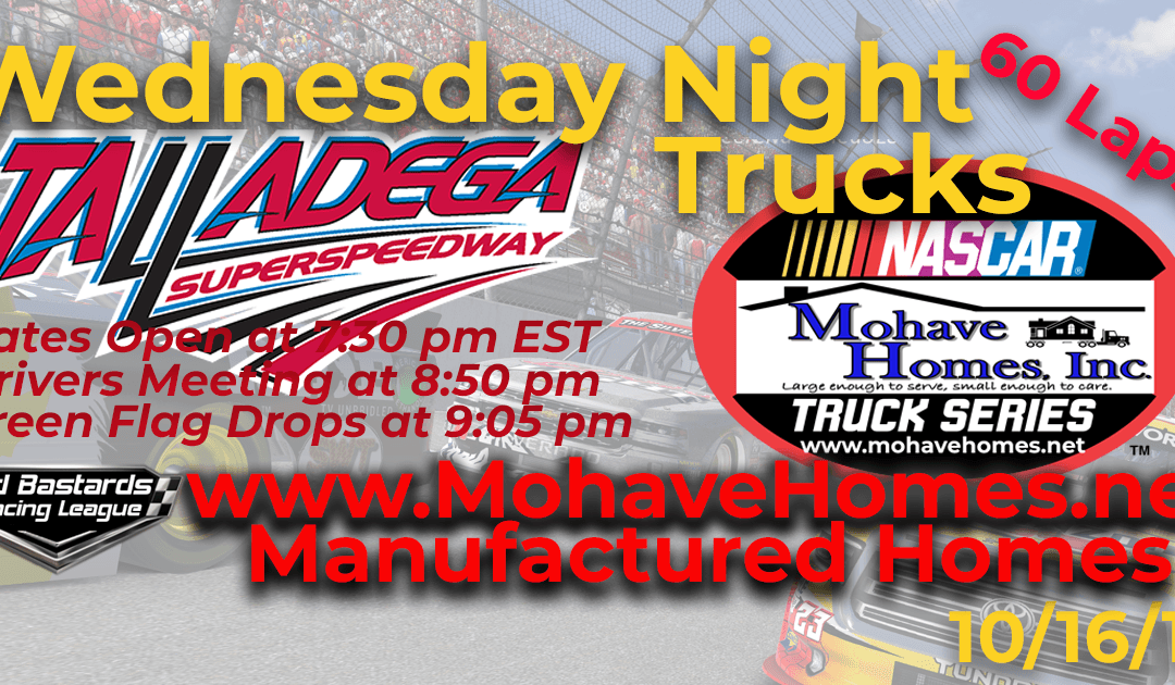 🏁WINNER: Michael Watts #56! Week #6 Cavco Durango Manufactured Mohave Homes Truck Series Race at Talladega SuperSpeedway- 10/16/19 Wednesday Nights
