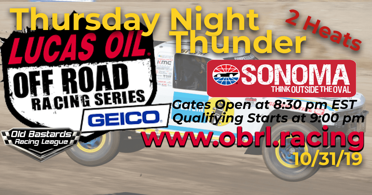 Lucas Oil Off Road Truck Series Race at Sonoma Raceway - 10/31/19