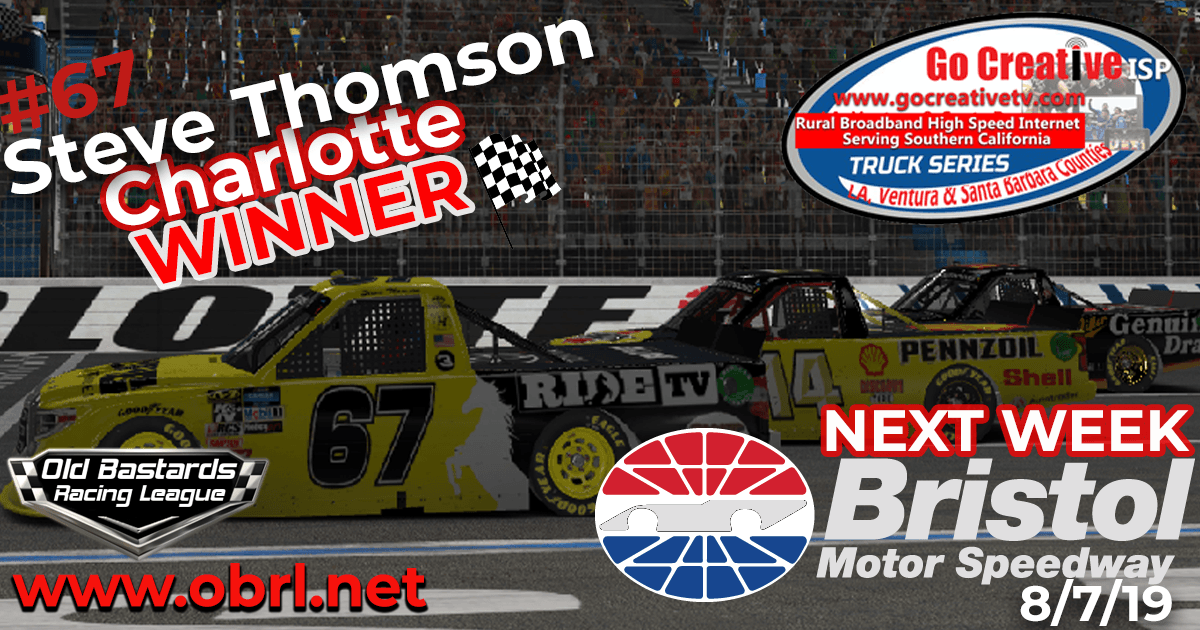 Steve Thomson #67 RIDE TV / Hemp Shack Sponsored Tundra For Winning The Go Creative Wireless ISP Truck Series Race at Charlotte Motor Speedway