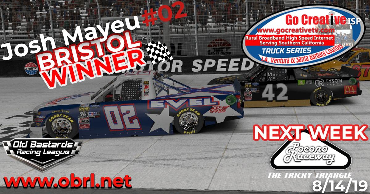 """Josh """"Evil"""" Mayeu #02 Wins Nascar Go Creative ISP Truck Race at Bristol Motor Speedway"""