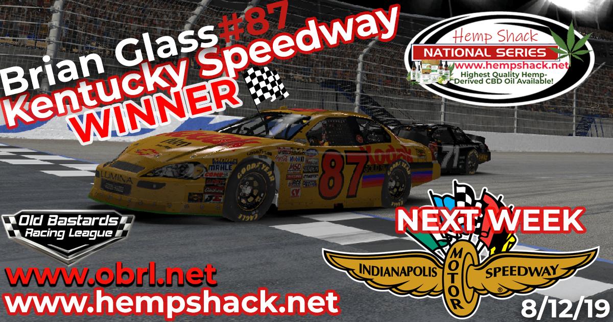 Brian Glass #87 Wins Nascar K&N Pro Hemp Shack CBD Oil Nationals at Kentucky Speedway!