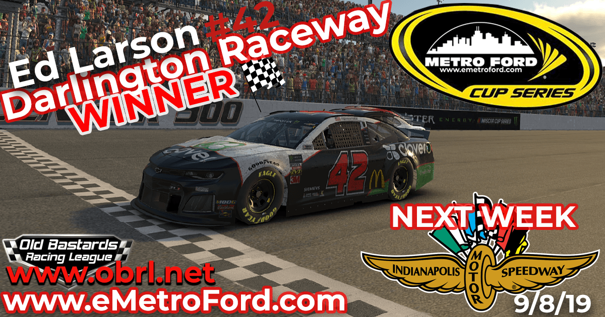Ed Adams #42 Wins Nascar Metro Ford Cup Race at Darlington Raceway! Sweeps Weekend!