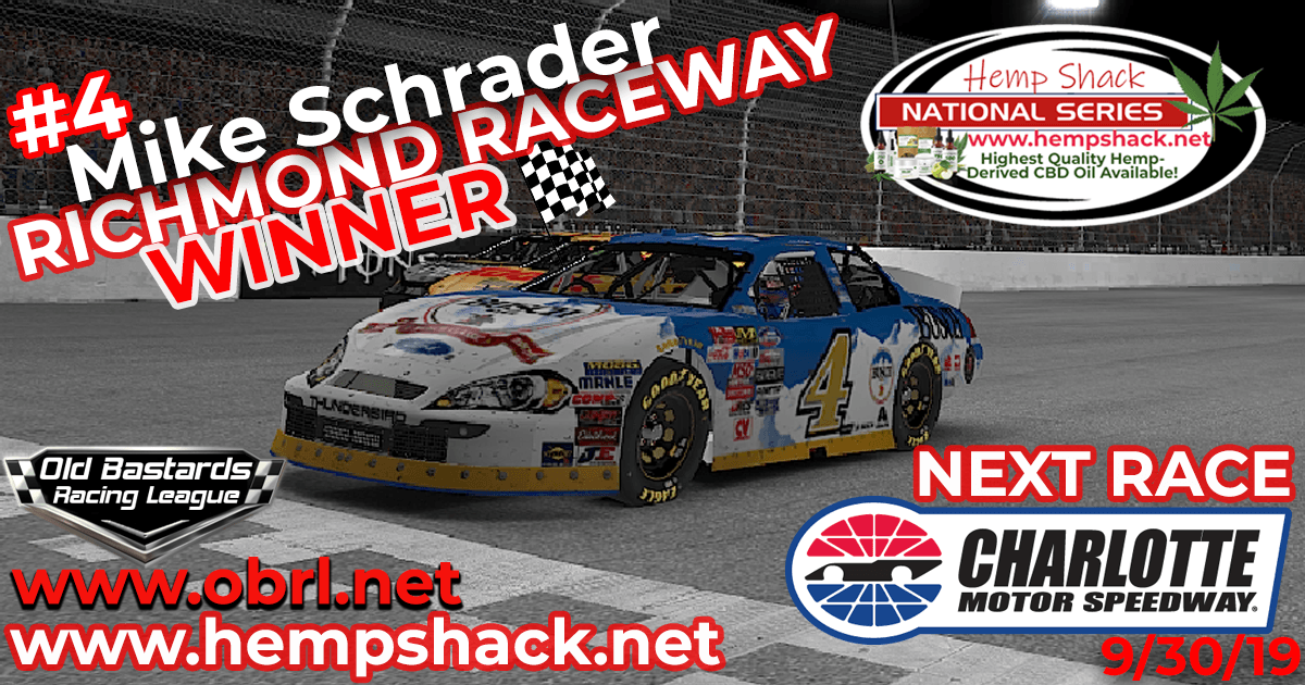 Mike Schrader #4 Wins Nascar K&N Pro Hemp Shack Certified CBD Oil Nationals at Richmond!