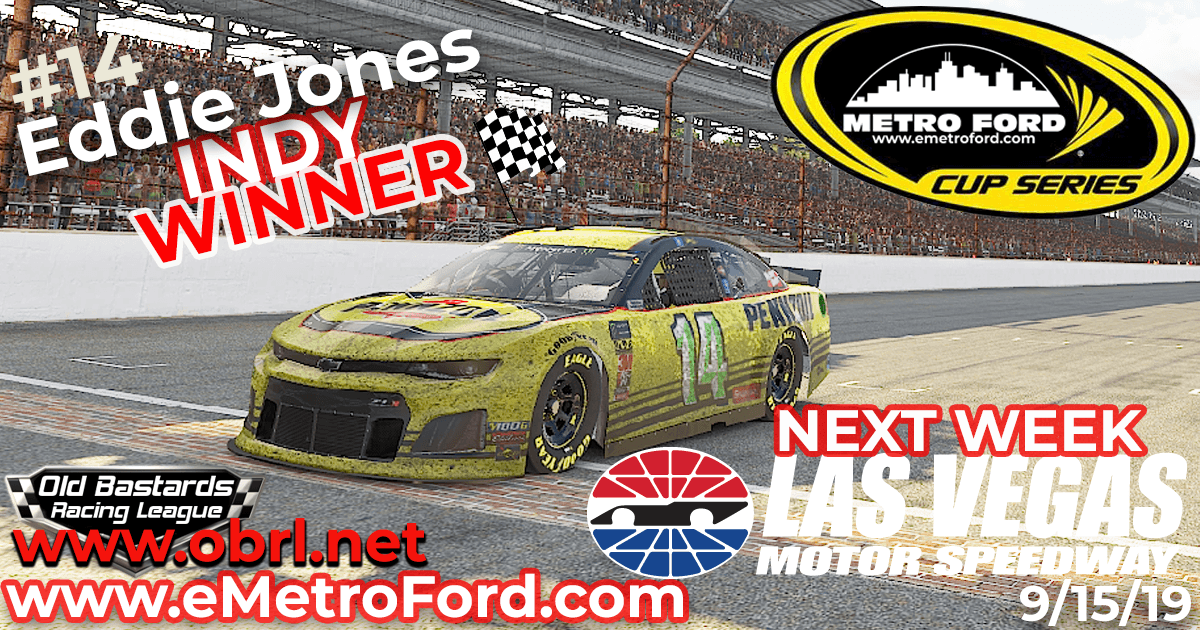 🏁Eddie Jones #14 Wins Nascar Metro Ford Cup Race at Indianapolis Motor Speedway!