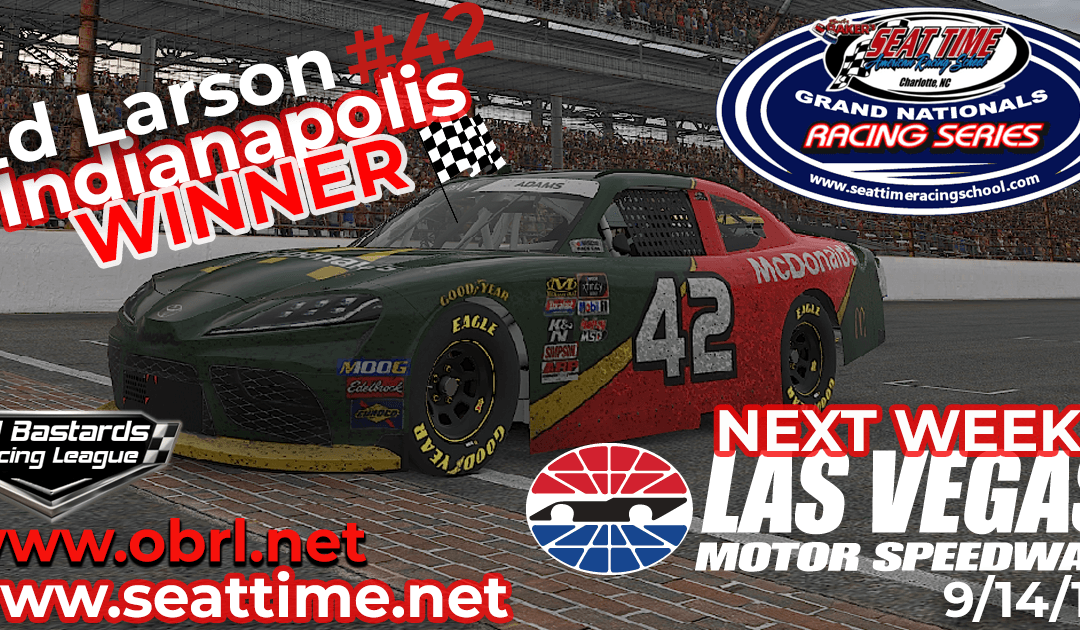 🏁Ed Adams #42 Wins Nascar Seat Time Racing School Grand National Xfinity Race at INDY!