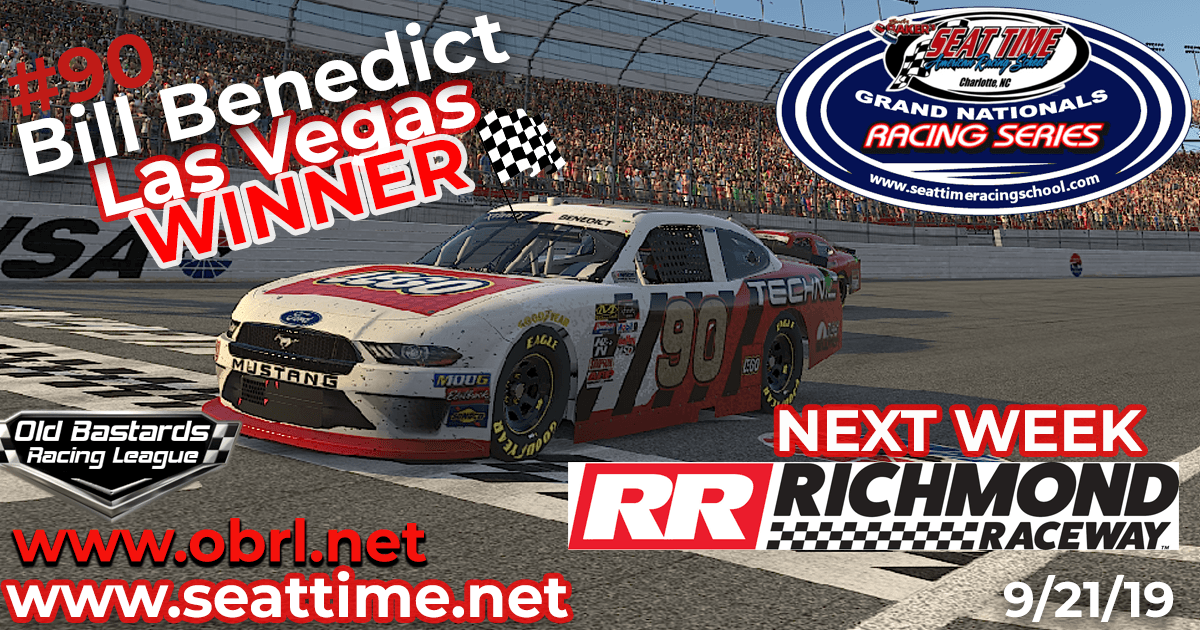 🏁Bill Benedict #90 Wins Nascar Seat Time Racing School Grand National Xfinity Race at Vegas!