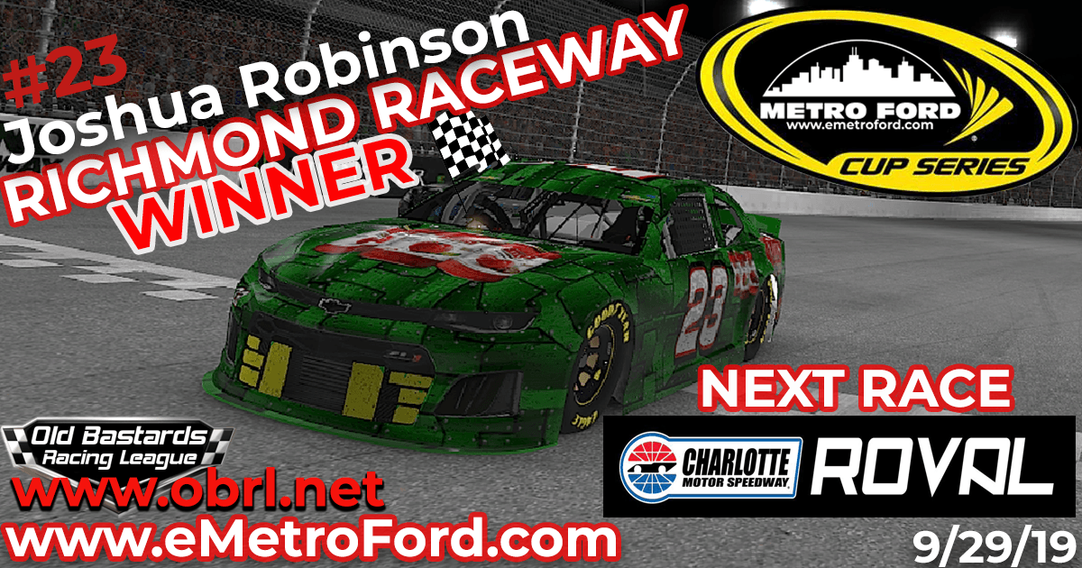 Josh Robinson #23 Wins Nascar Metro Ford Cup Race at Richmond Raceway!