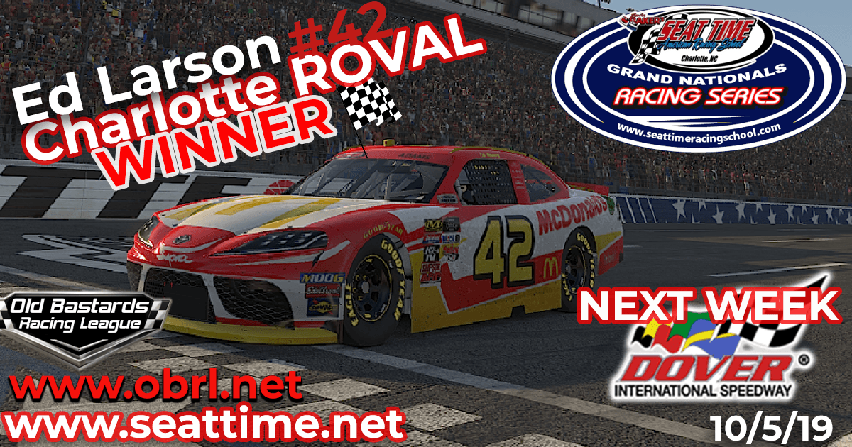 Ed Larson Adams #42 Wins Nascar Seat Time Racing School Xfinity Race at The ROVAL!
