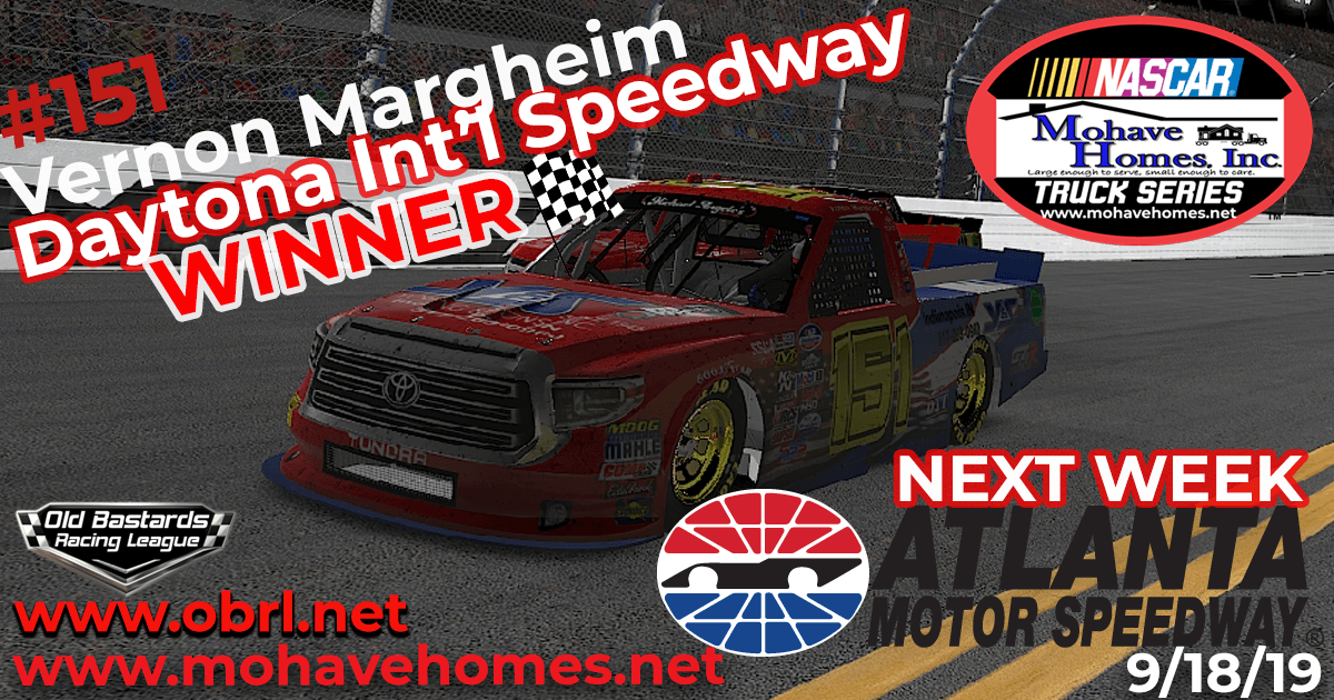 Vernon Margheim Wins Nascar Mohave Homes, Inc.Truck Series Race at Daytona Int'l Speedway!