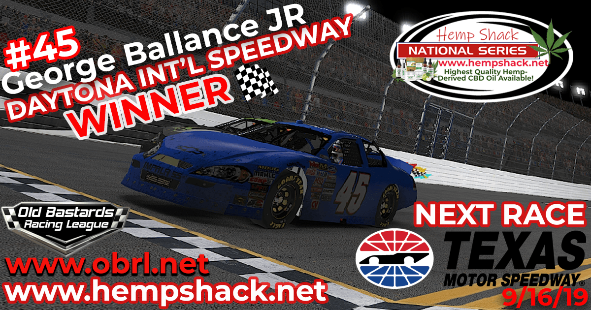 🏁George Ballance Jr. #45 Wins Nascar K&N Pro Hemp Shack Certified CBD Oil Nationals at Daytona!