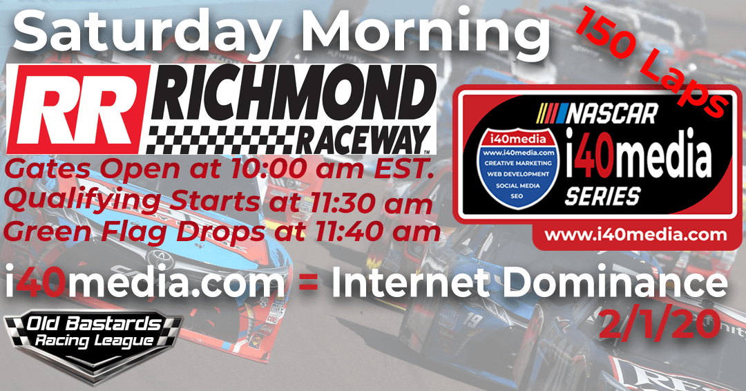 Nascar i40media Monster Cup Series Race at Richmond Raceway - Playoff Round 1/25/20. Nascar i40media iRacing Cup League - Saturday Mornings