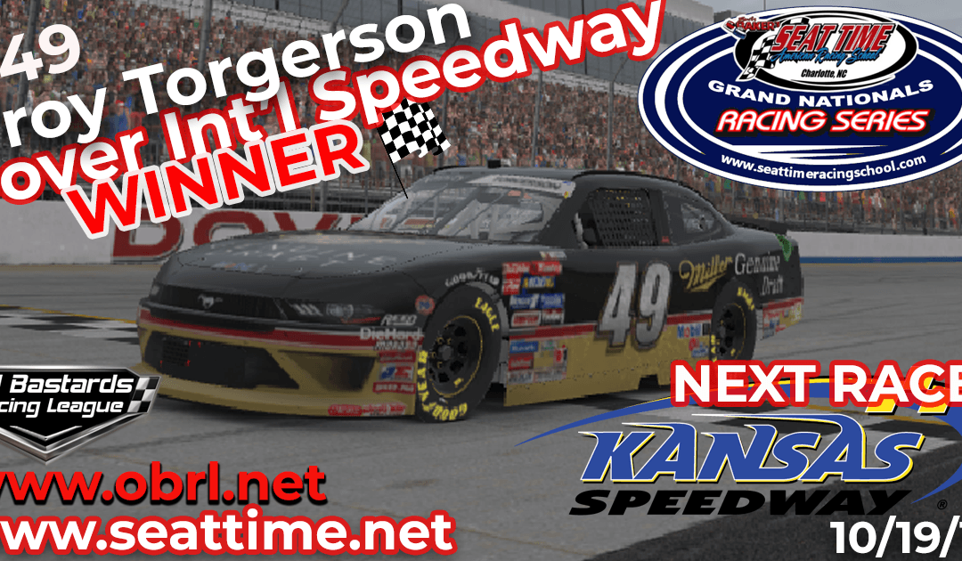🏁 Troy Torgerson #49 Wins Nascar Seat Time Racing School Xfinity Race at Dover Int'l Speedway!