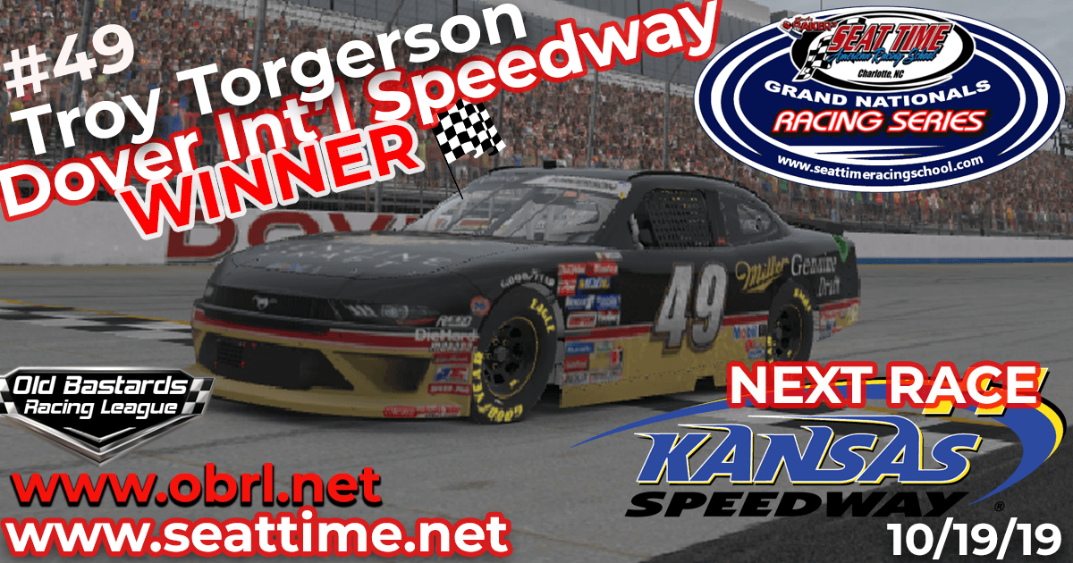 Troy Torgerson #49 Wins Nascar Seat Time Racing School Xfinity Race at Dover!