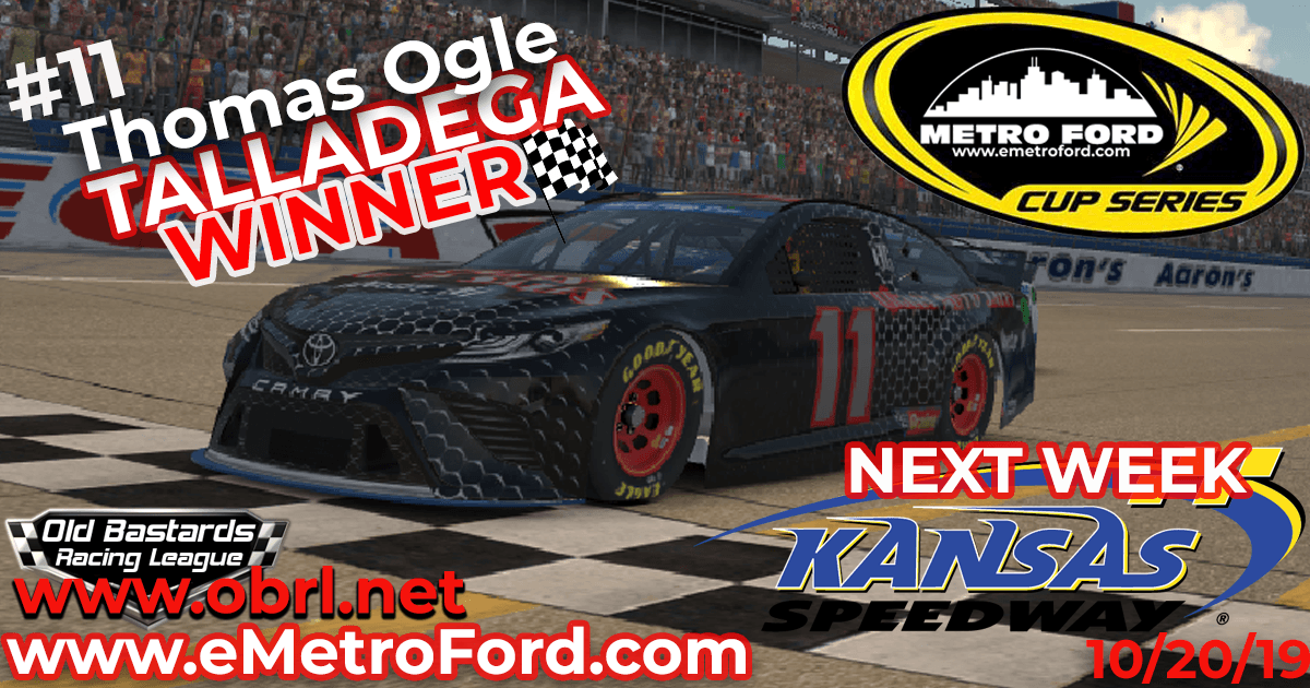 "Tom ""Liberace"" Ogle Steals Win In Nascar Metro Ford Cup Race at Talladega SuperSpeedway!"