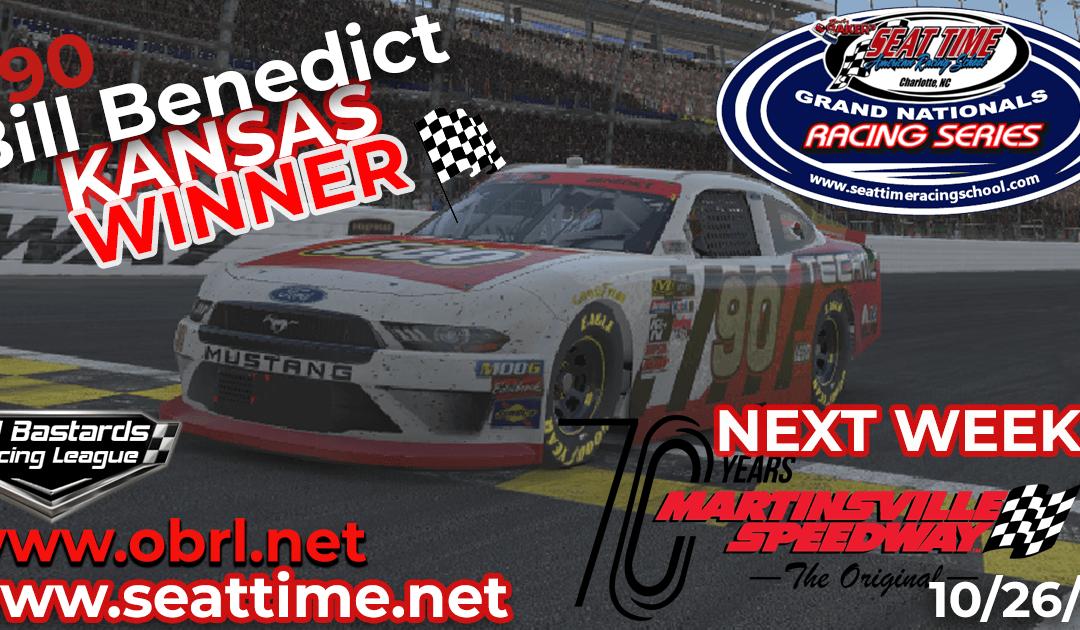 🏁 Bill Benedict #90 Wins Nascar Seat Time Racing School Xfinity Race at Kansas Speedway!