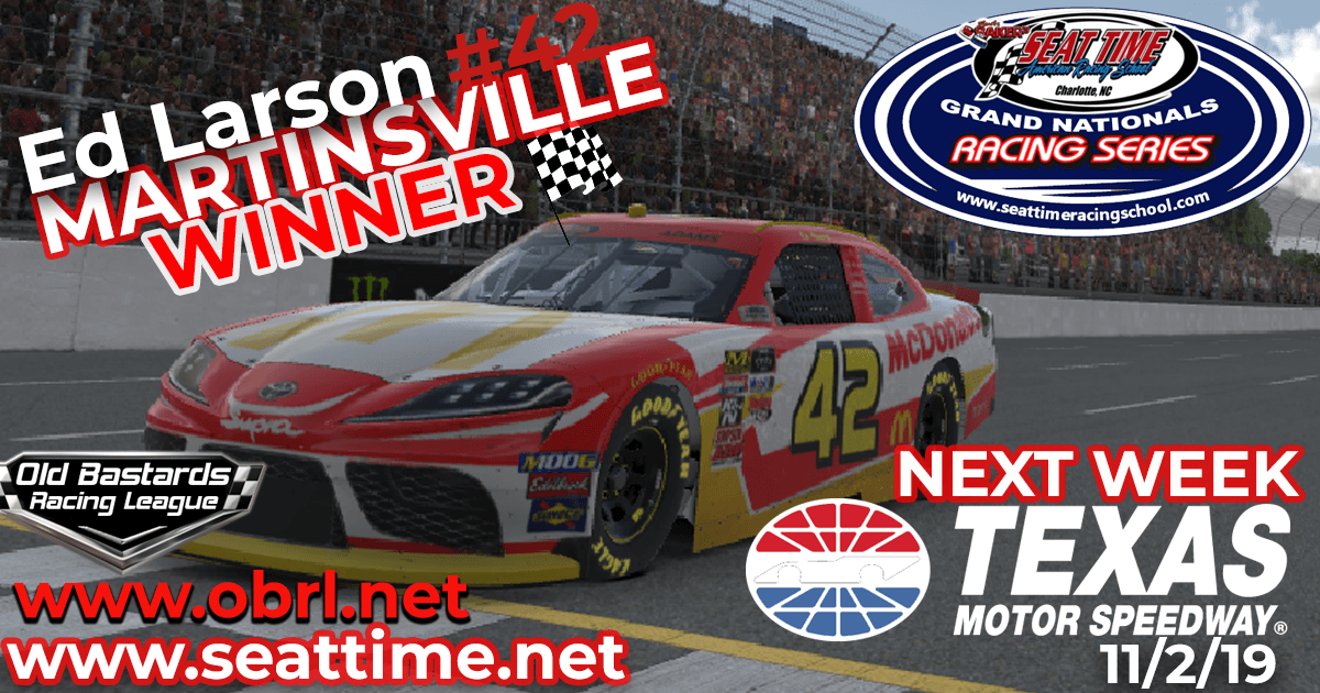 Ed Larson Adams #42 Wins Nascar Seat Time Racing School Xfinity Race at Martinsville Speedway!