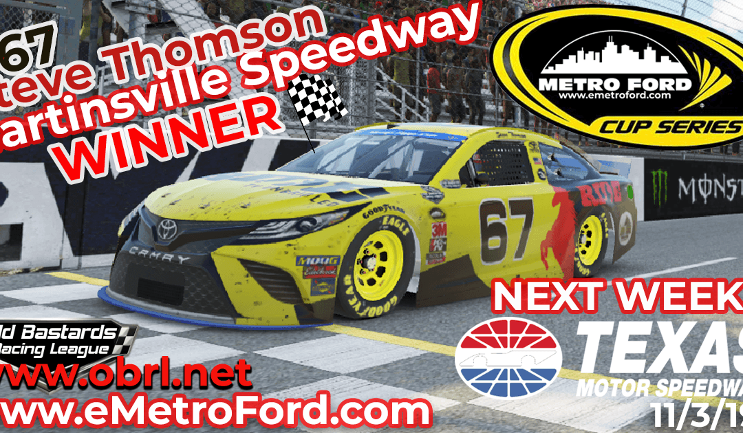 🏁 Steve Thomson #67 Ride TV Wins Nascar Metro Ford Chicago Cup Race at Martinsville Speedway!