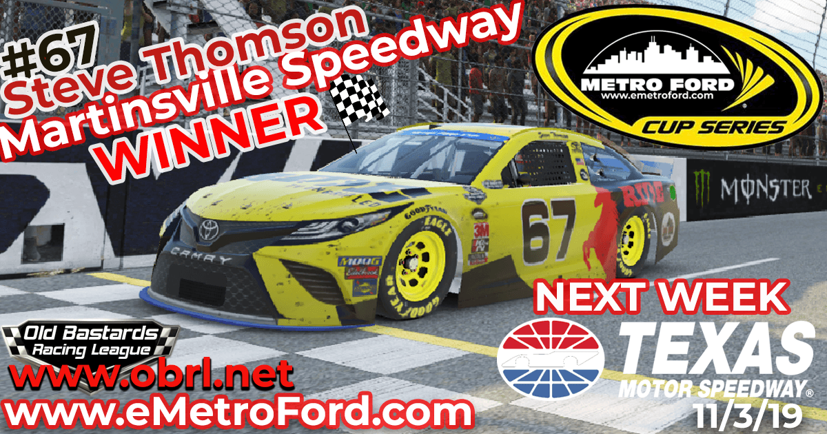 Steve Thomson #67 Ride TV Wins Nascar Metro Ford Chicago Cup Race at Martinsville!