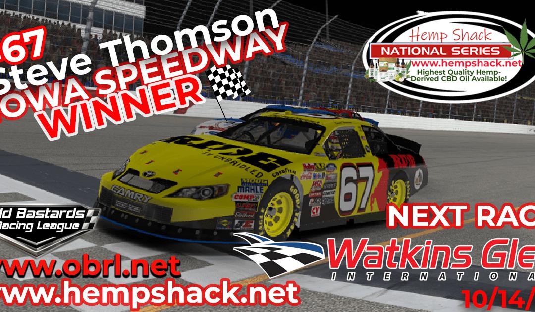 🏁 Steve Thomson #67 Ride TV Wins Nascar K&N Pro Hemp Shack Certified CBD Oil Nationals at Iowa!