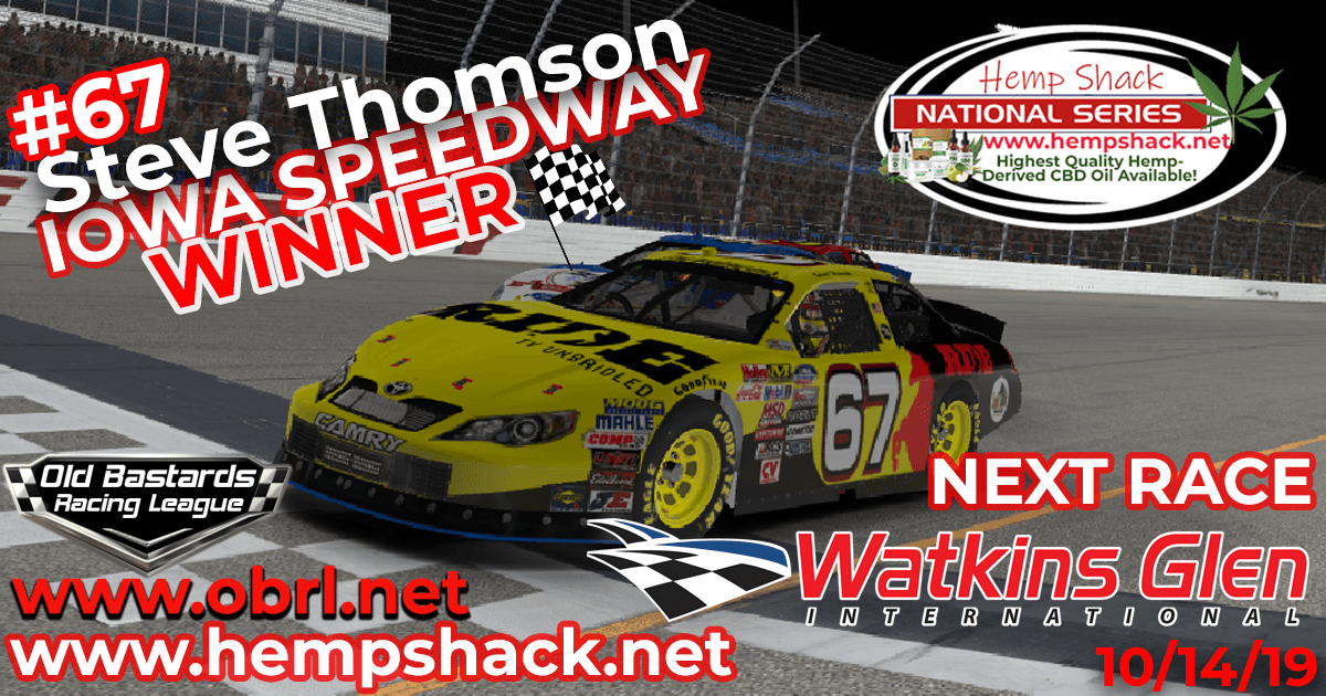 Steve Thomson #67 Ride TV Wins Nascar K&N Pro Hemp Shack Certified CBD Oil Nationals at Iowa!