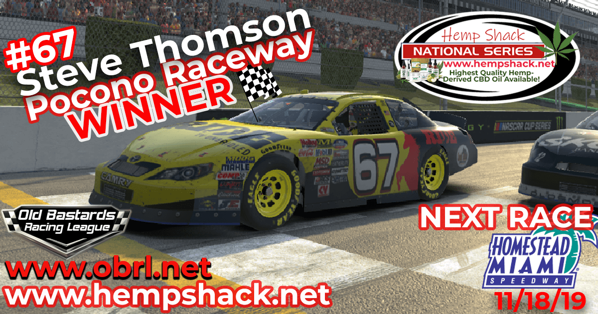 Steve Thomson #67 Ride TV Wins Nascar K&N Pro Hemp Shack Certified CBD Oil Nationals at Pocono!