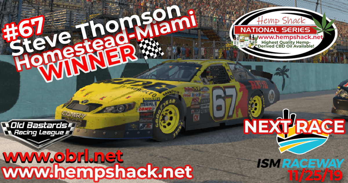 eve Thomson #67 Ride TV Wins Nascar K&N Pro Hemp Shack Certified CBD Oil Nationals at Homestead Miami Speedway!