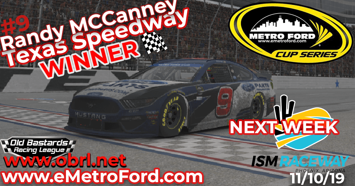 Randy McCanney #9 Wins Nascar Metro Ford Chicago Cup Race at Texas Motor Speedway!
