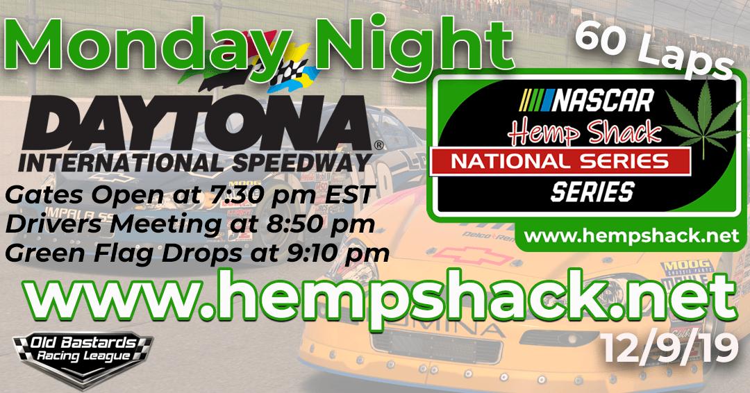 🏁 WINNER: Gary Corbett #88! Week #1 Hemp Shack Hemp Oil National Series Race at Daytona Int'l Speedway – 12/9/19 Monday Nights