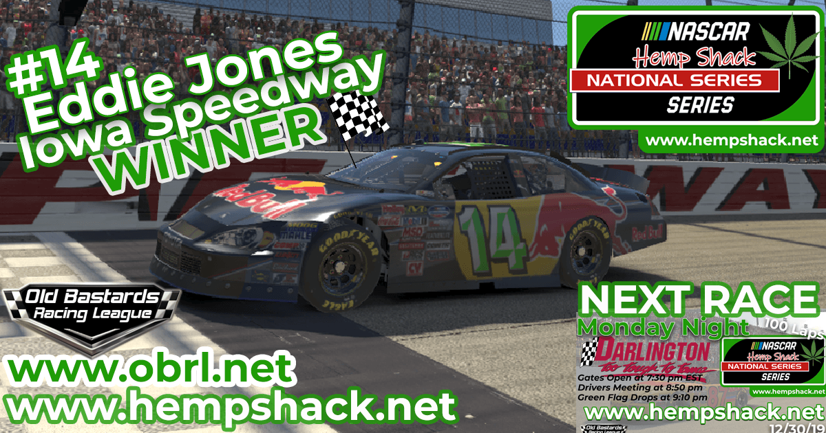 "Eddie ""Ragin Kajin"" Jones #14 Wins Nascar ARCA Hemp Shack CBD Race at Iowa Speedway!"