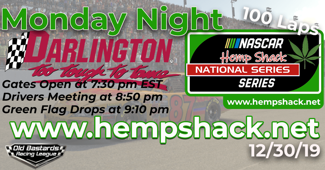 Week #4 Hemp Shack Hemp Oil National Series Race at Darlington Raceway – 12/30/19 Monday Nights