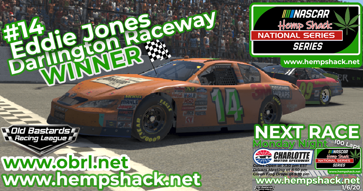 "Eddie ""Rajin Kajin"" Jones #14 Wins 3rd Nascar ARCA Hemp Shack CBD Race at Darlington!"