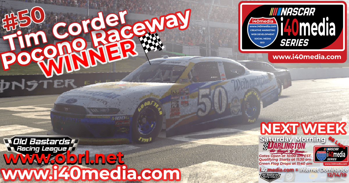 Tim Corder #50 Gets 1st Win in Nascar i40media Grand National Race at Pocono Raceway