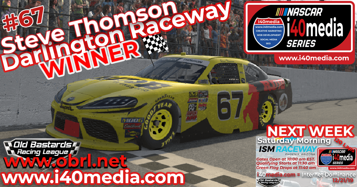 🏁 Steve Thomson #67 Ride TV Wins Nascar i40media Grand National Race at Darlington Raceway!