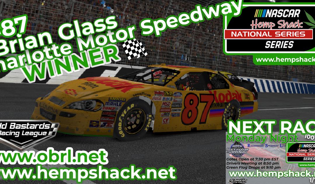"🏁 Brian ""The Bull"" Glass #87 Wins Nascar ARCA Hemp Shack CBD Race at Charlotte!"