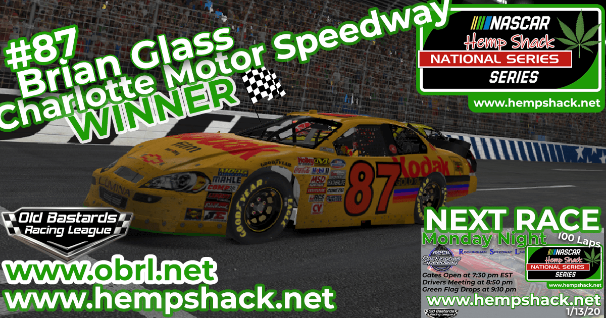 "Brian ""The Bull"" Glass #87 Wins Nascar ARCA Hemp Shack CBD Race at Charlotte!"