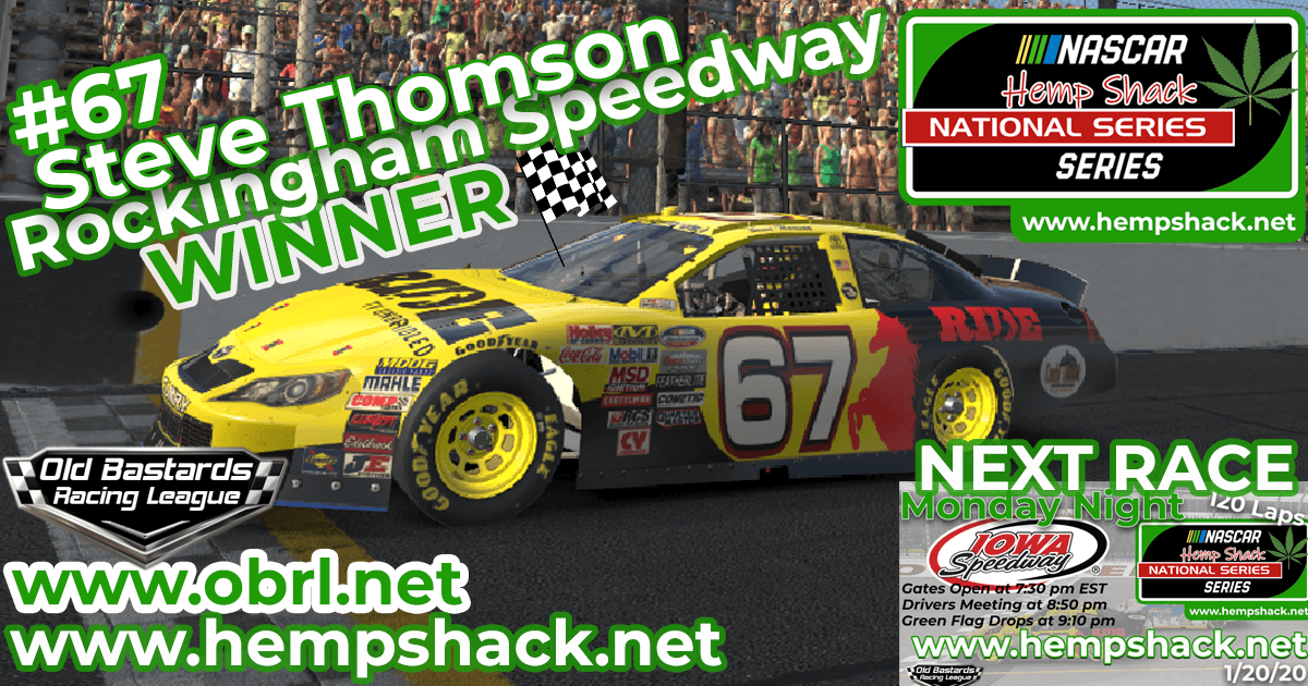 Steve The Mule Thomson #67 Wins Nascar ARCA Hemp Shack CBD Race at Rockingham!