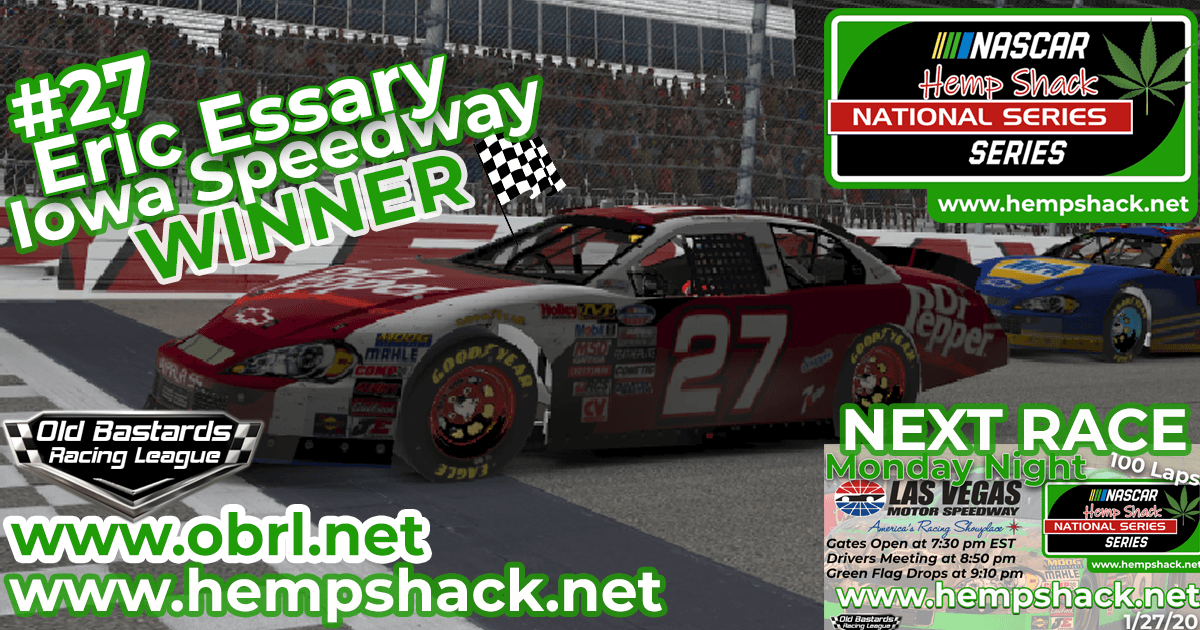 Eric Essary #27 Wins Nascar ARCA Hemp Shack CBD Race at Iowa Speedway!